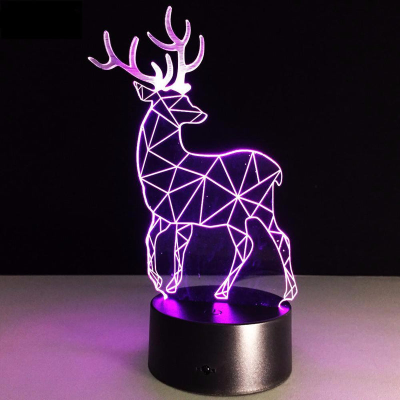 Reindeer 3D LED Night Light Lamp - 3D LED LAMP 3DLightLamps.com