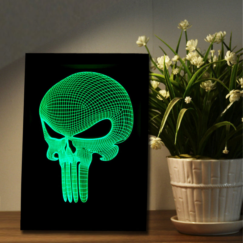 The Punisher Skull 3D LED Night Light Framed - 3D LED NIGHT LIGHT FRAMED 3DLightLamps.com