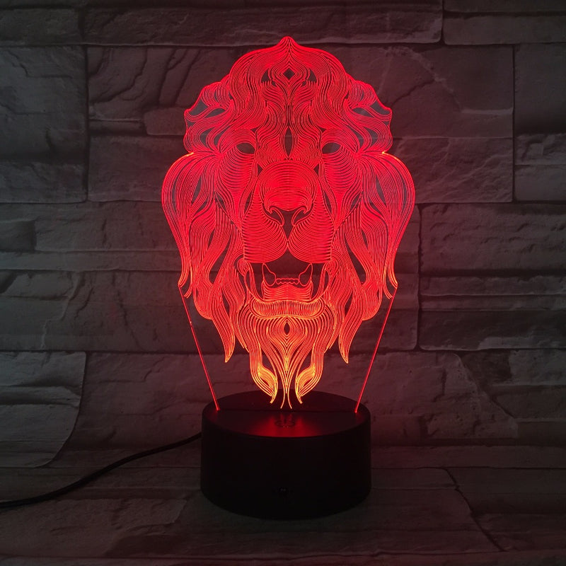 Lion's Head 3D LED Lamp