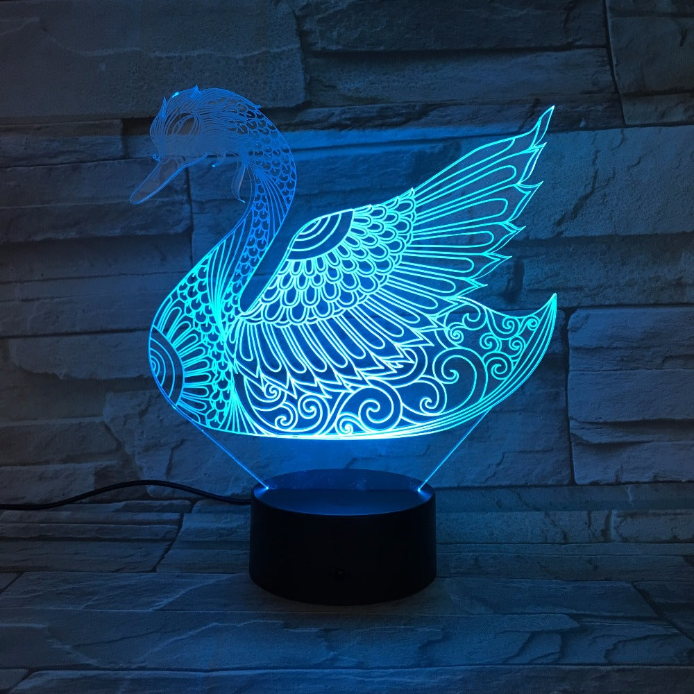 Majestic Swan 3D LED Lamp