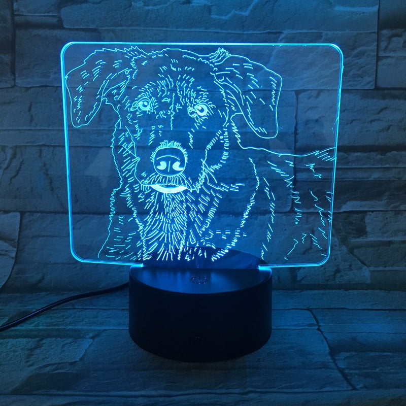 Portrait of a Dog 3D LED Lamp
