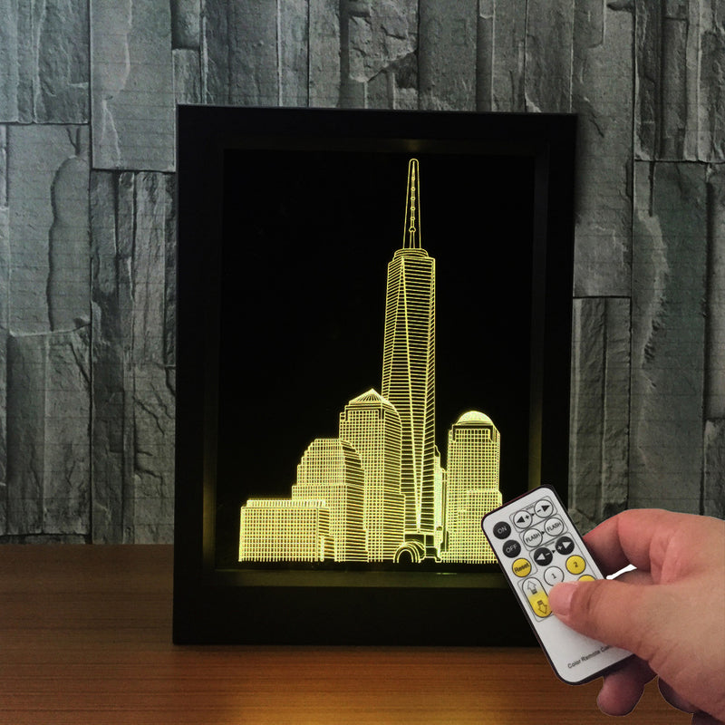 WTC World Trade Center New York City NYC 3D LED Night Light Framed - 3D LED NIGHT LIGHT FRAMED 3DLightLamps.com