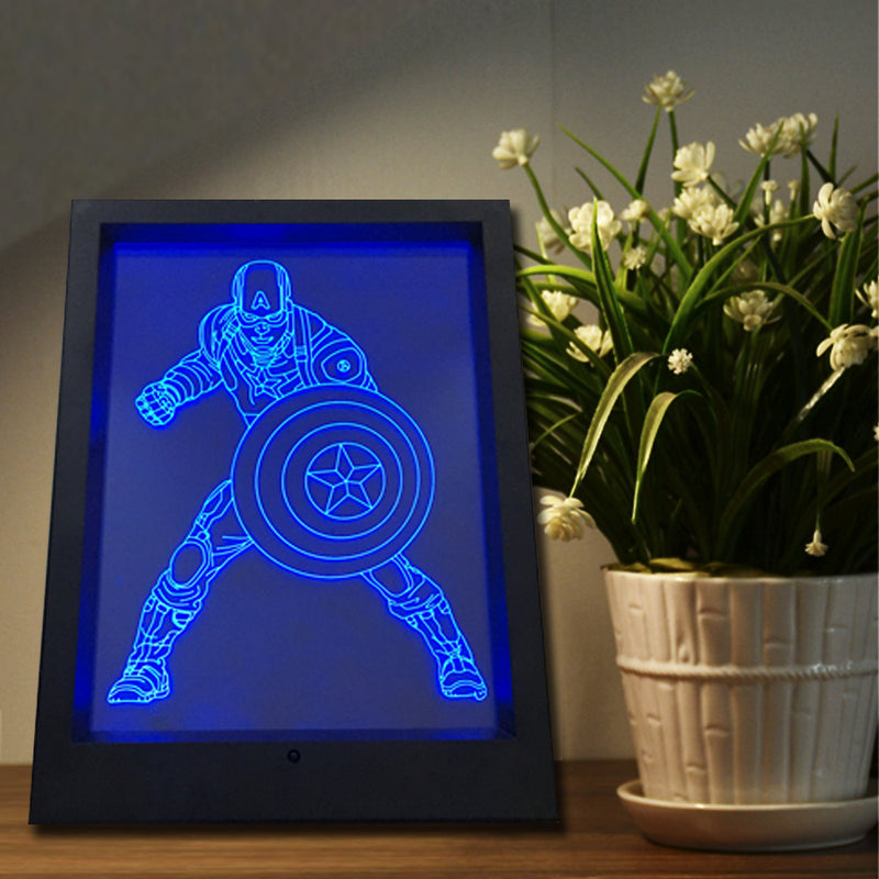 Captain America 3D LED Illusion Framed Lamp