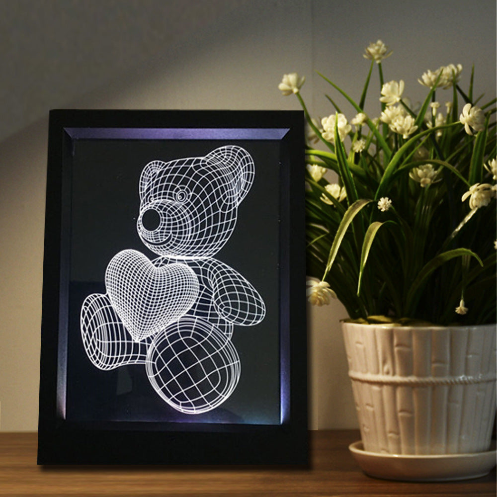 Teddy Bear Heart 3D LED Night Light Framed - 3D LED NIGHT LIGHT FRAMED 3DLightLamps.com