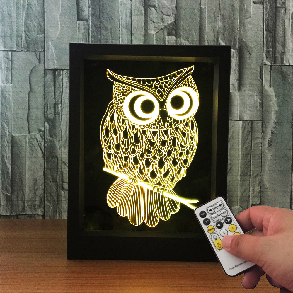 Wise Owl 3D LED Night Light Framed - 3D LED NIGHT LIGHT FRAMED 3DLightLamps.com