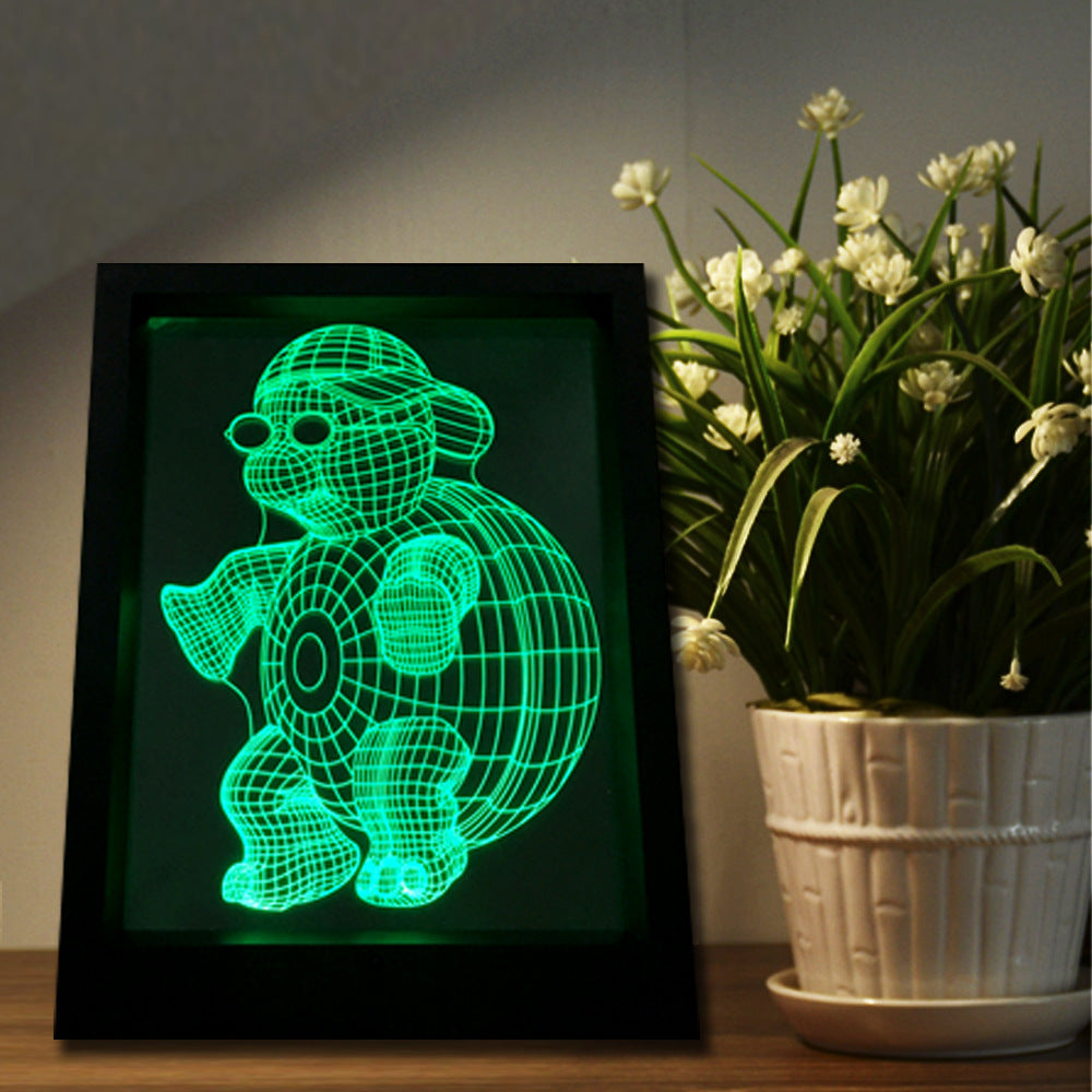 Turtle 3D LED Night Light Framed - 3D LED NIGHT LIGHT FRAMED 3DLightLamps.com