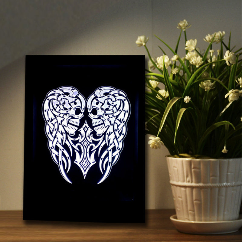 Two Skulls 3D LED Night Light Framed - 3D LED NIGHT LIGHT FRAMED 3DLightLamps.com