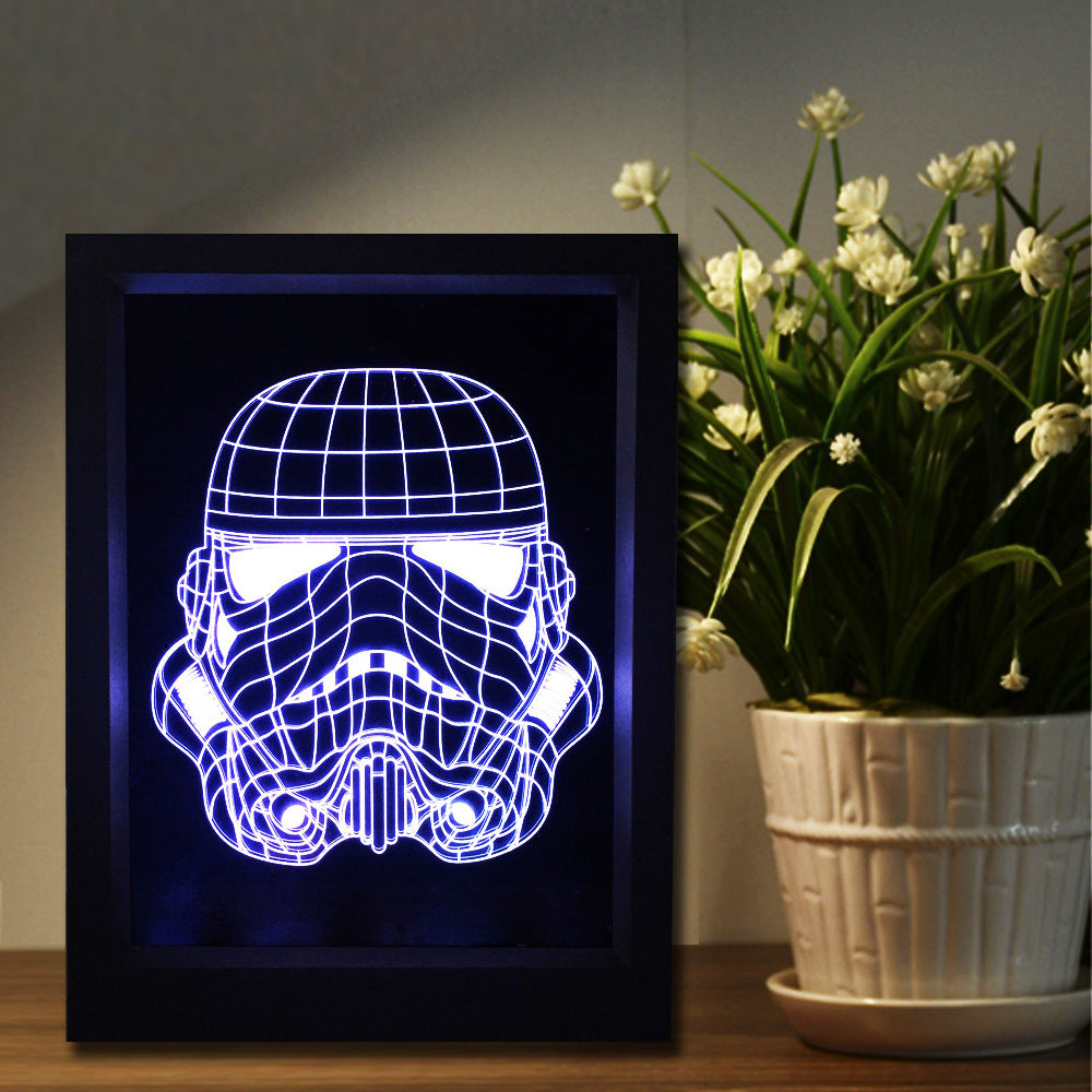 Star Wars Stormtrooper Mask 3D LED Night Light Framed - 3D LED NIGHT LIGHT FRAMED 3DLightLamps.com