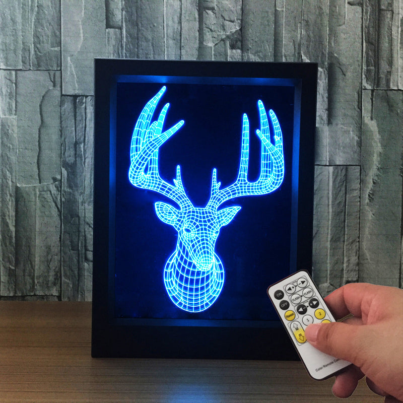 The Deer 3D LED Night Light Framed - 3D LED NIGHT LIGHT FRAMED 3DLightLamps.com