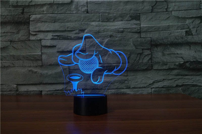 Golf Tee It Up on Peg 3D LED Night Light Lamp - 3D LED LAMP 3DLightLamps.com