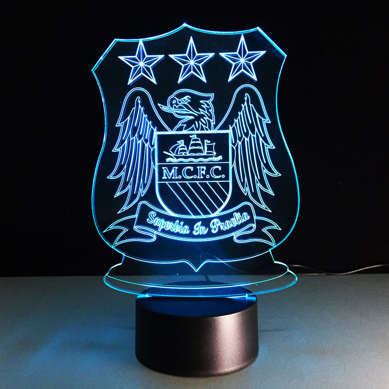 MCFC Futbol Crest 3D LED Night Light Lamp - 3D LED LAMP 3DLightLamps.com