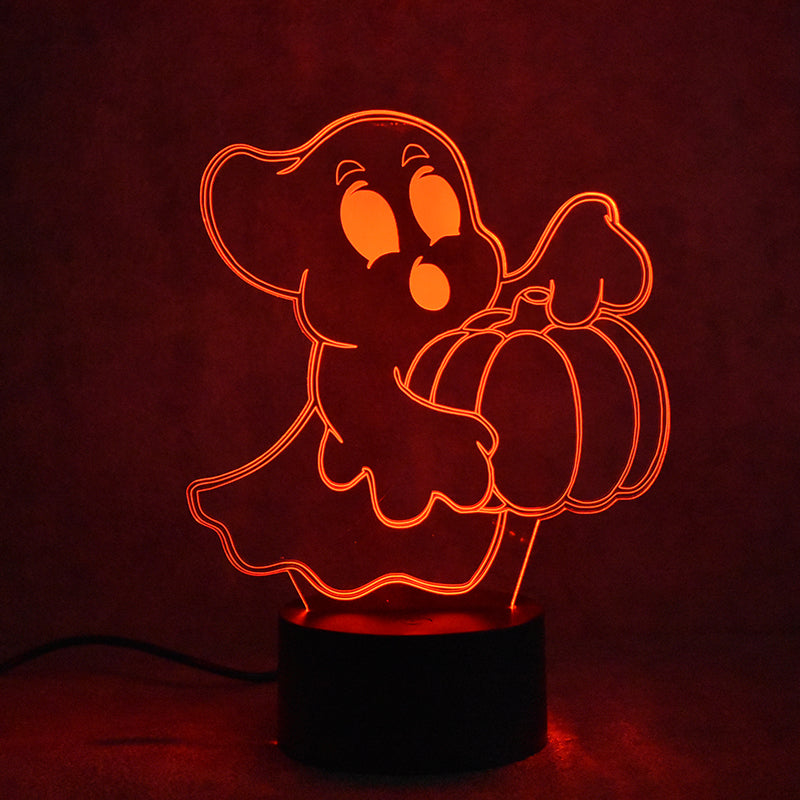 Ghost Pumpkin Phantom 3D LED Night Light Lamp - 3D LED LAMP 3DLightLamps.com