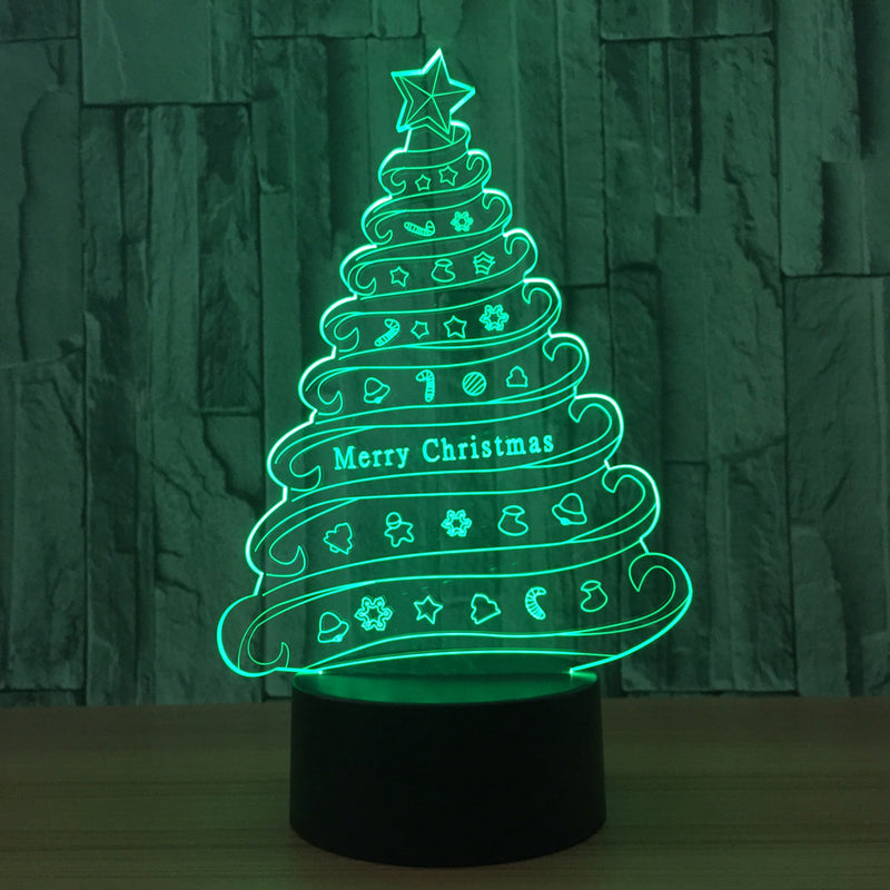 Merry Christmas Tree 3D LED Night Light Lamp - 3D LED LAMP 3DLightLamps.com
