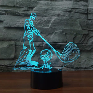 Golf Tee Up Wedge 3D LED Night Light Lamp