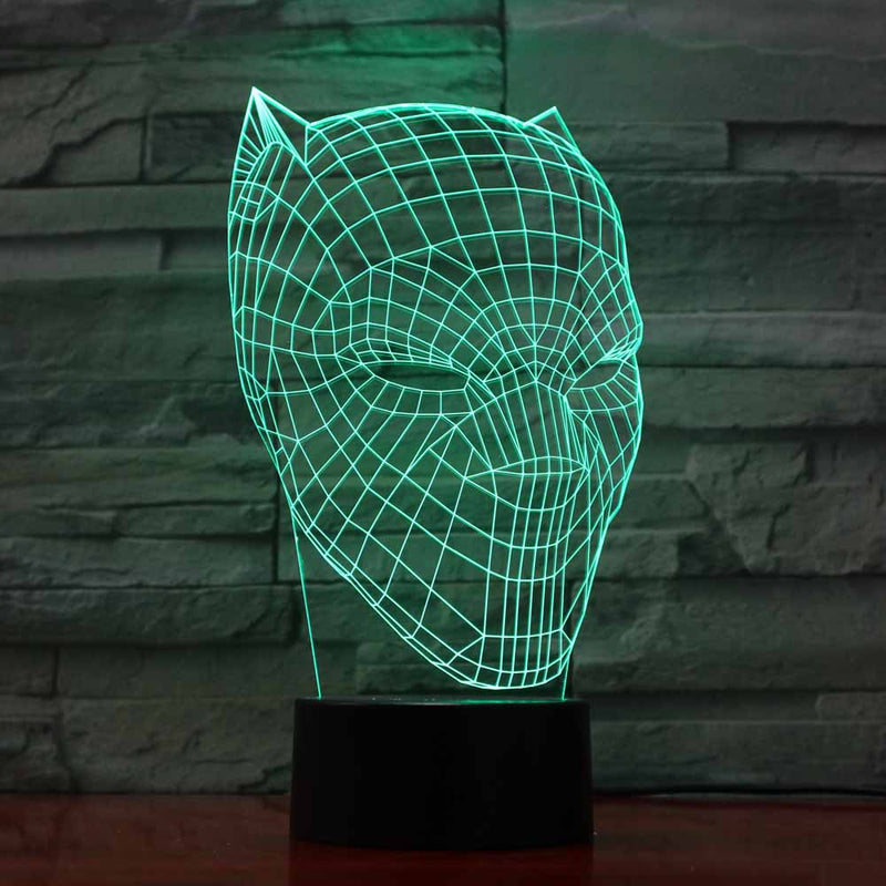 Black Panther Helmet 3D LED Night Light Lamp