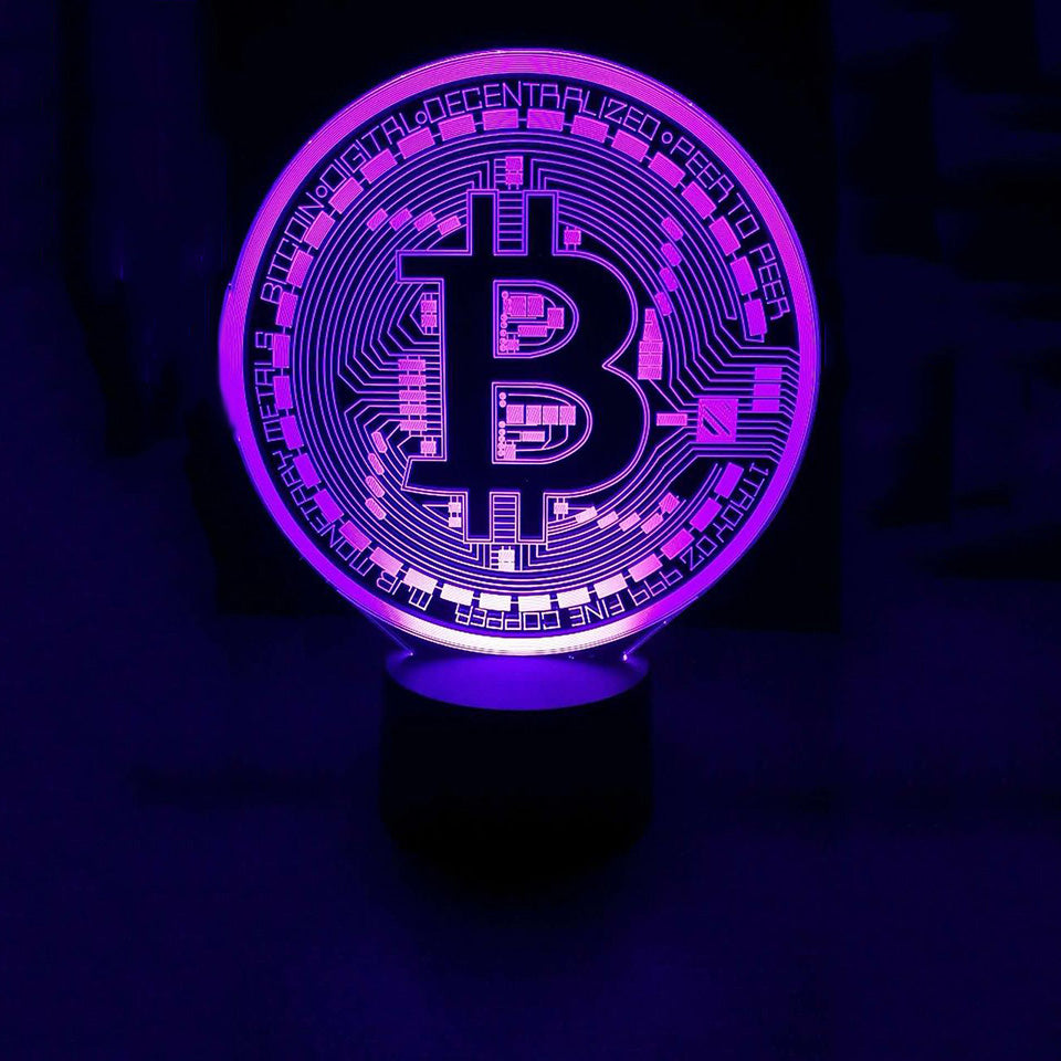 Bitcoin Crypto Currency Symbol Logo 3D LED Night Light Lamp - 3D LED LAMP 3DLightLamps.com