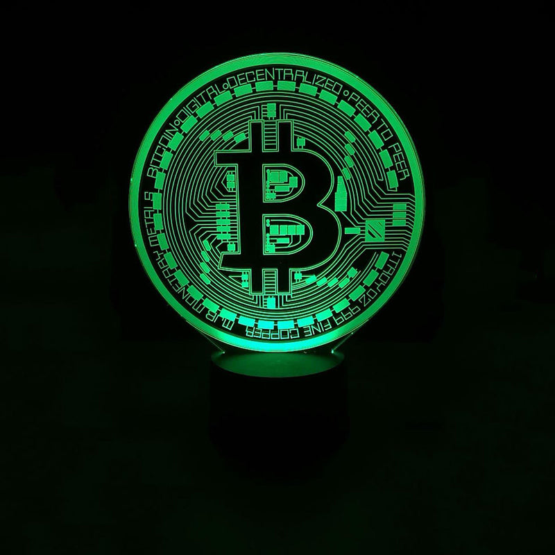 Bitcoin Crypto Currency Symbol Logo 3D LED Night Light Lamp