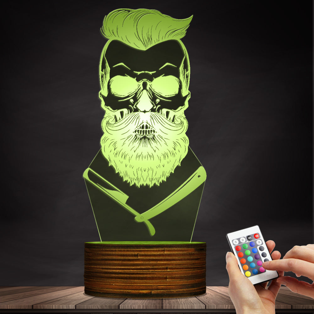Barber Shop Hipster Skeleton Mustache 3D LED Night Light Lamp
