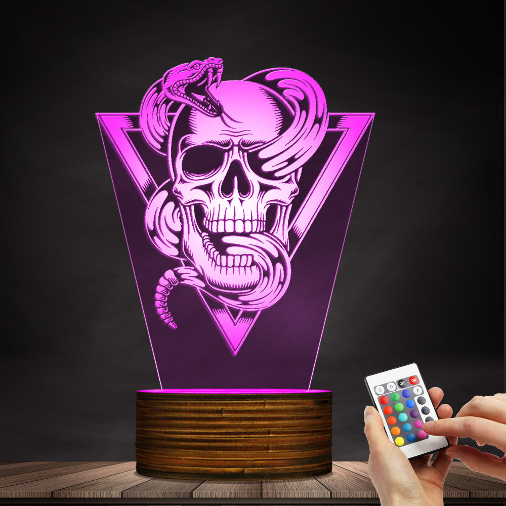 Skull With Rattlesnake Totem Emblem 3D Night Light Lamp
