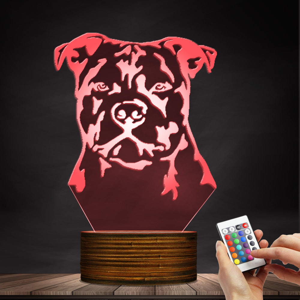 Staffordshire Bull Dog Terrier 3D LED Night Light Lamp - 3D LED LAMP 3DLightLamps.com