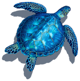 Blue Turtle (with shadow) Porcelain Mosaic