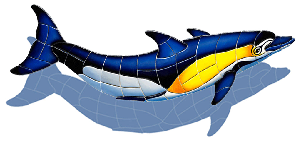 Common Dolphin-B-CD (with shadow) Ceramic Mosaic