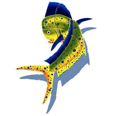 Mahi Mahi Upward MM41/SH (with shadow) Ceramic Mosaic