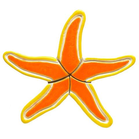 Orange Starfish OS Sea Life Ceramic Mosaic