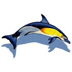 Common Dolphin-A-DI (with shadow) Ceramic Mosaic