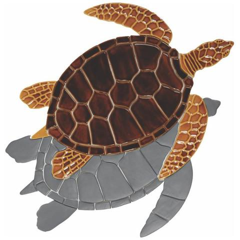 Brown Sea Turtle GT7/SH (with shadow) Ceramic Mosaic