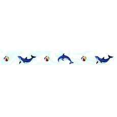 Dolphin Step Markers (Sold By 2 Linear FT) Porcelain Mosaic