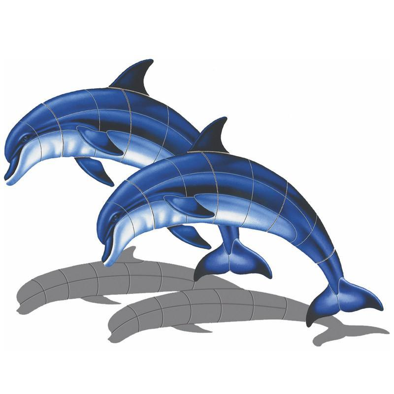 Double Bottlenose Dolphin-A (with shadow) Porcelain Mosaic