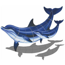 Double Bottlenose Dolphin-B with Baby (with shadow) Porcelain Mosaic