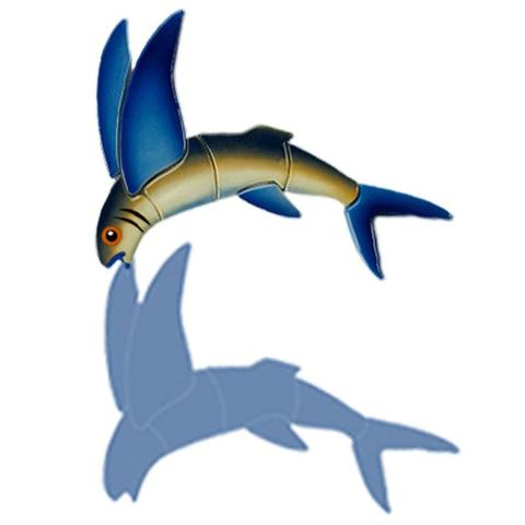 Flying Fish-A Reverse (with shadow) Porcelain Mosaic