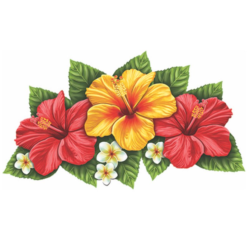 Triple Hibiscus Flower Red & Yellow Porcelain Mosaic