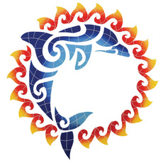 Dolphin Sun Medallion - Pool Mosaic