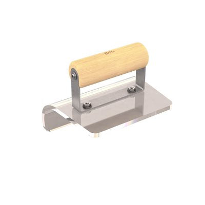 "PLEXIGLASS OUTSIDE STEP TOOL - 6"" X 5"" - 1/2"" RADIUS WOOD HANDLE"