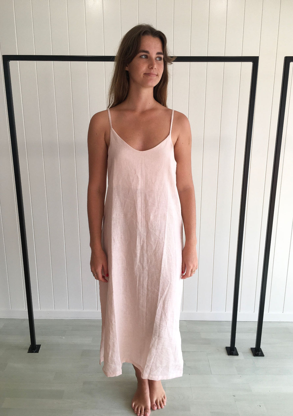 Isabella Midi Linen Dress - Pale Pink