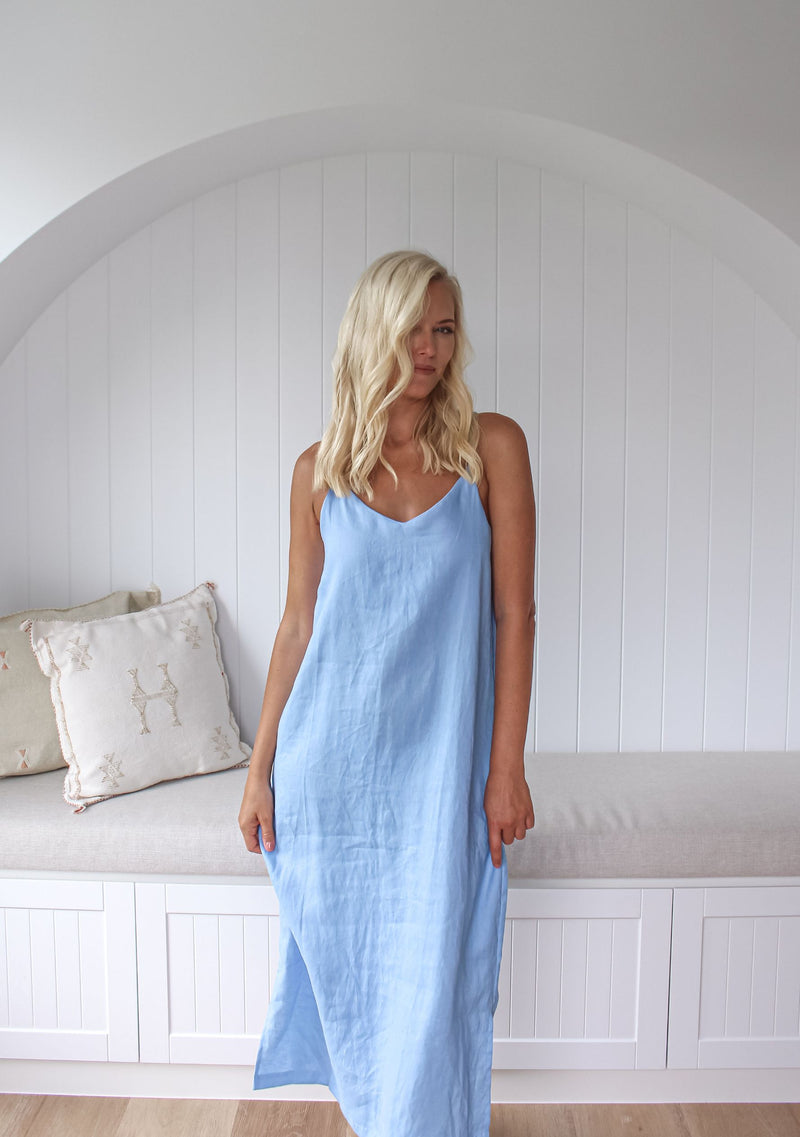 Isabella Midi Linen Dress - Cornflower
