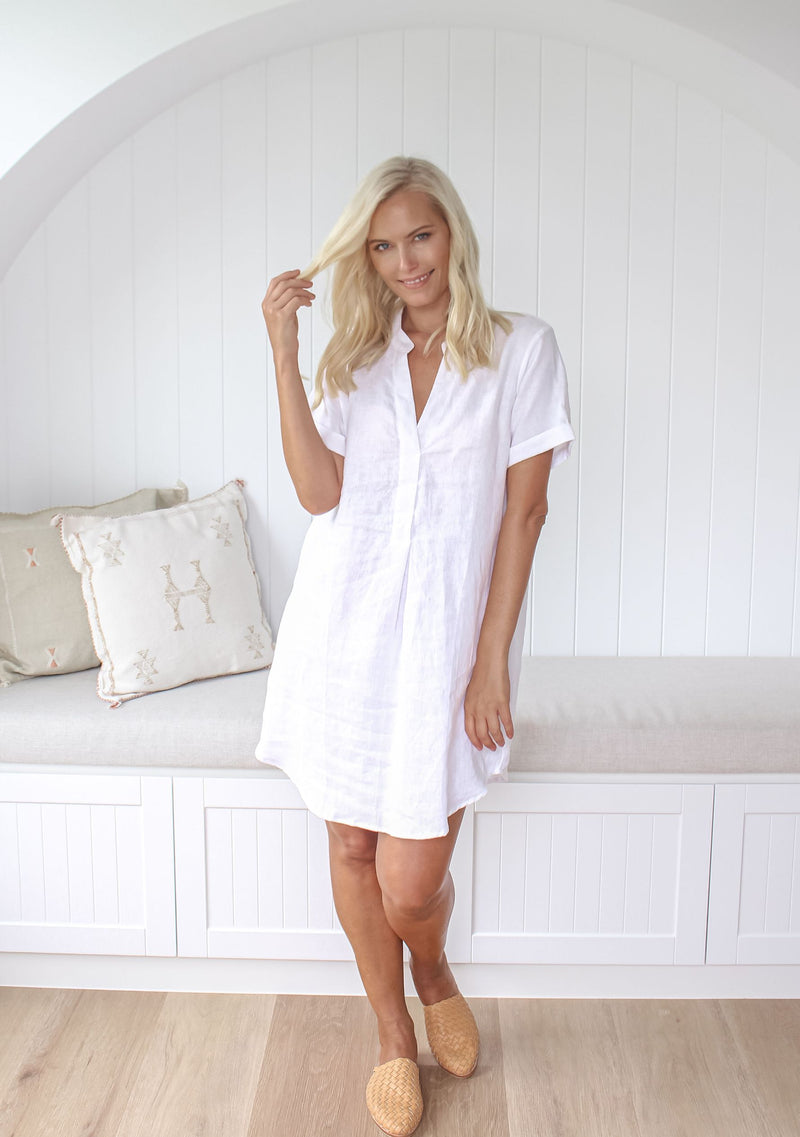 Scarlet Linen Dress - White
