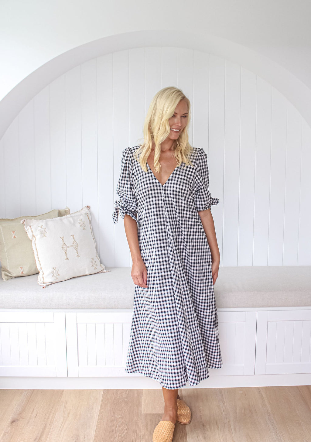 Elora Midi Dress, Gingham
