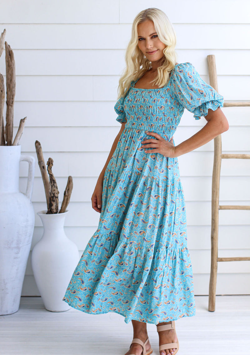 Willow Maxi Dress, Blue Floral