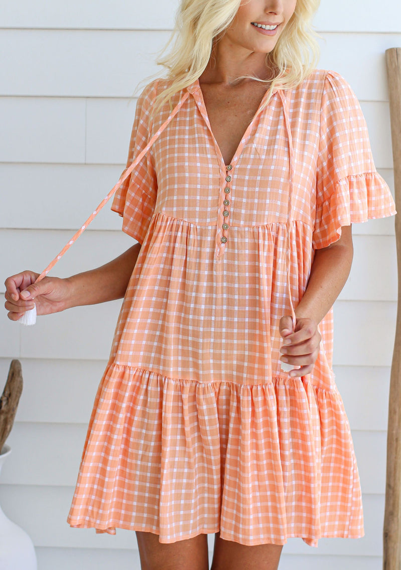 Breeze Baby Doll Dress, Orange Gingham