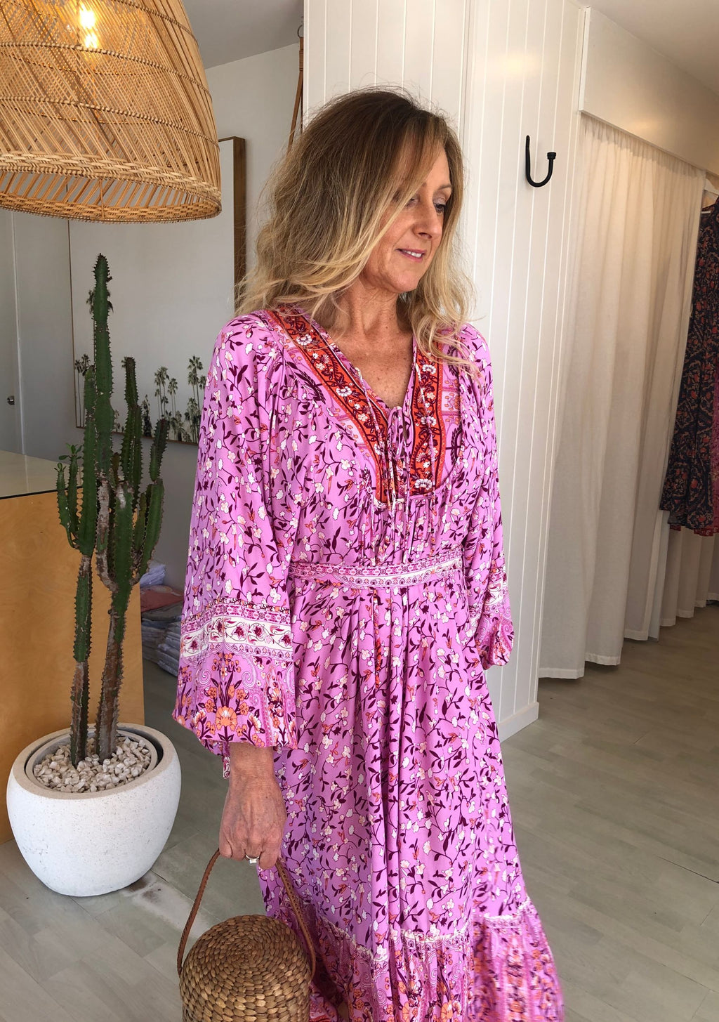 Karma Midi Dress, Orchid Print