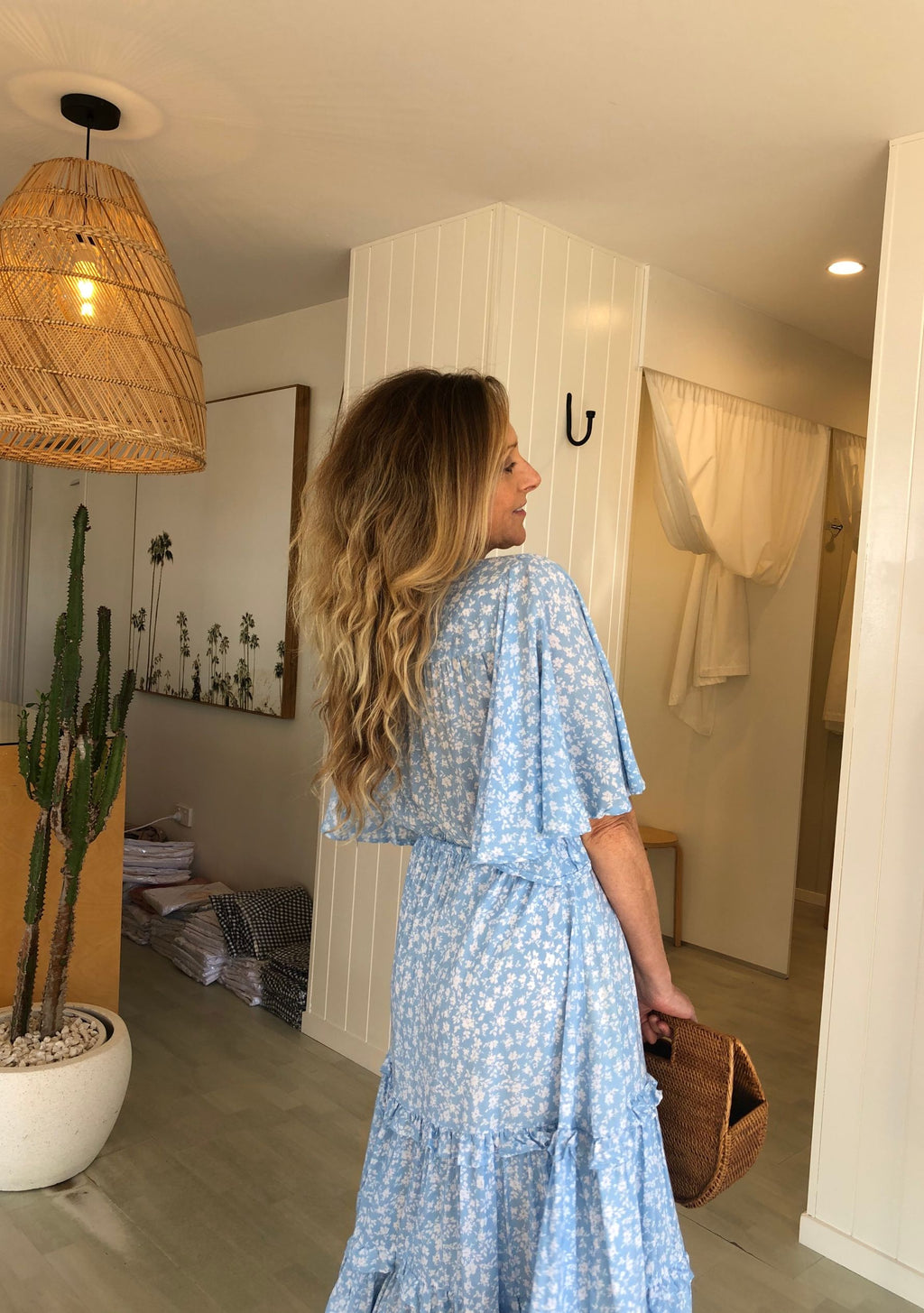 Malia Midi Dress, Pale Blue Bonnie Print