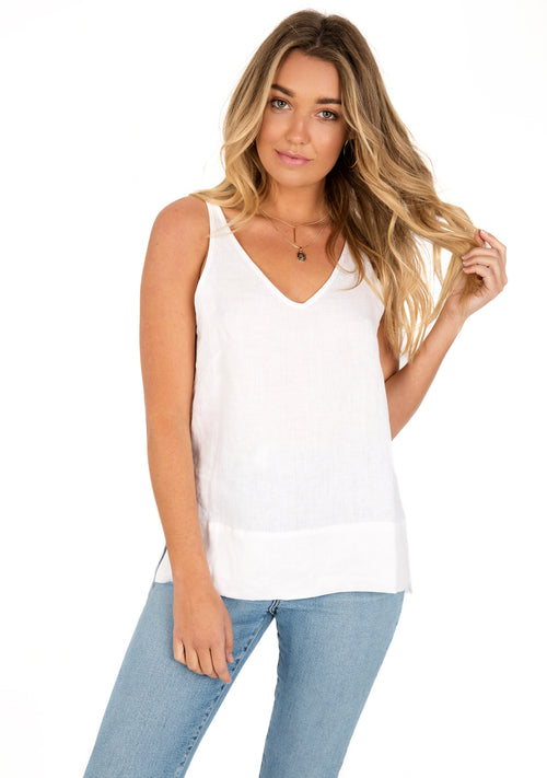Madison Linen Top - White