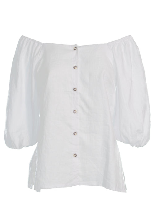 Juliana Blouse, White Linen