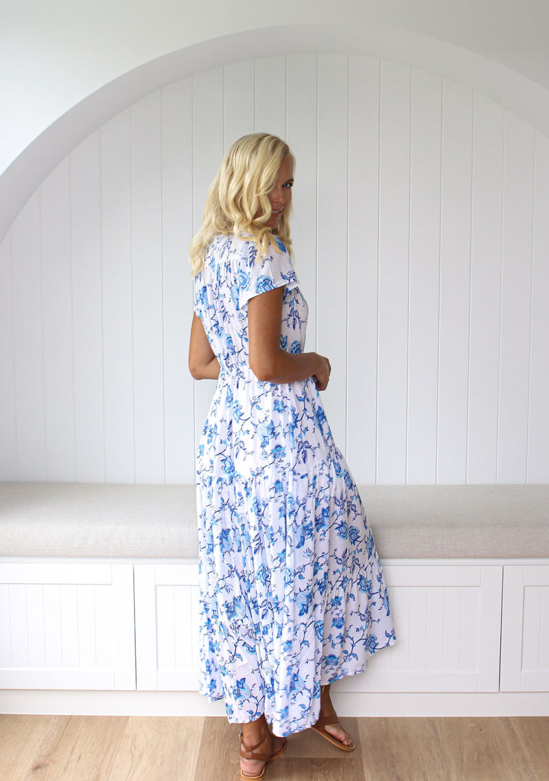 Addison Maxi Dress - Royal Blue Print