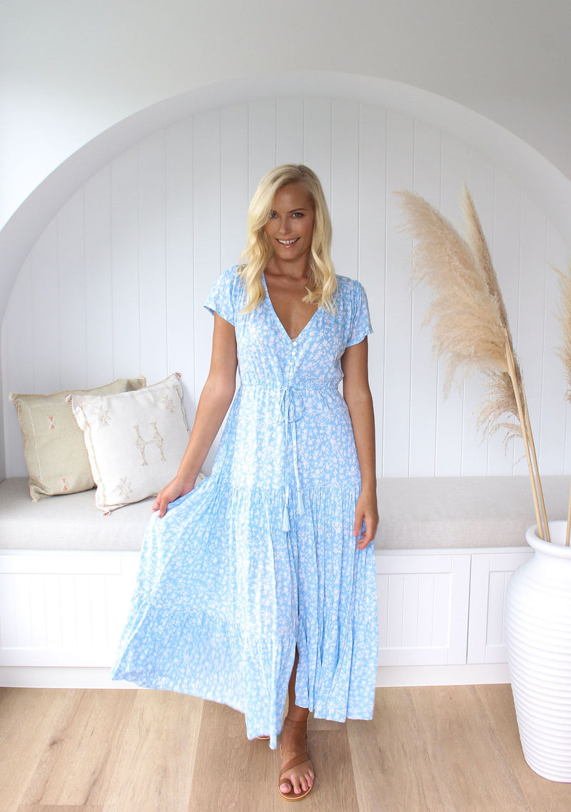 Addison Maxi Dress, Pale Blue Bonnie Print