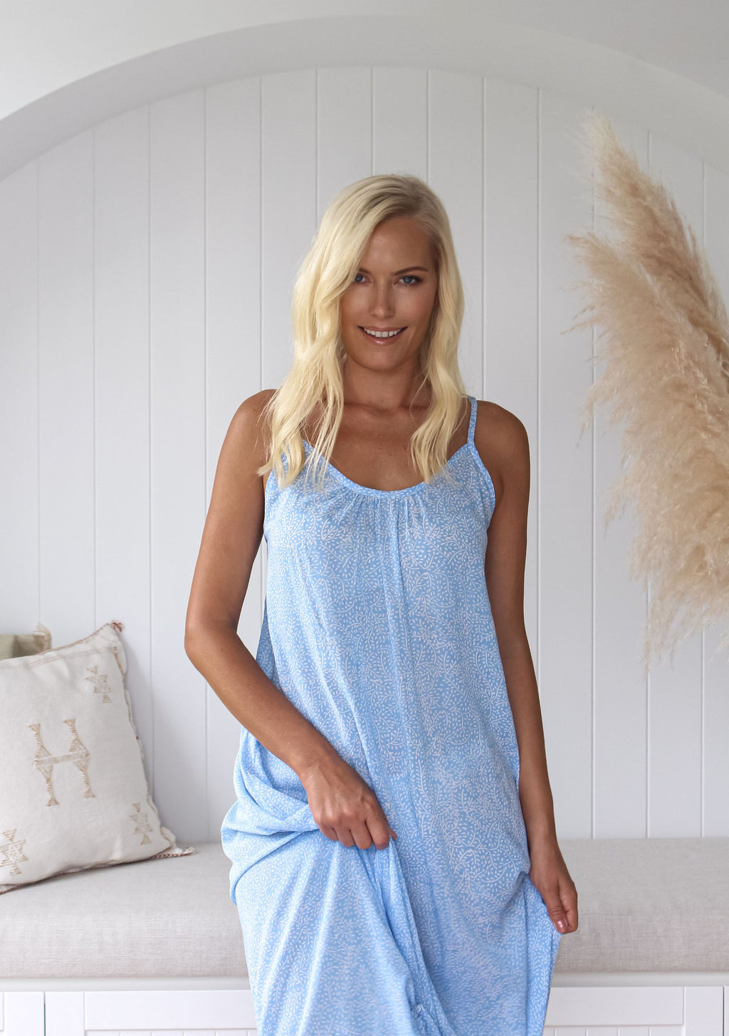 Beach Maxi Dress - Corvo Print, Sky Blue